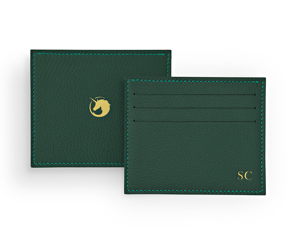 Solus III - Forest Green - Made to order Goat Leather & Silk card holder
