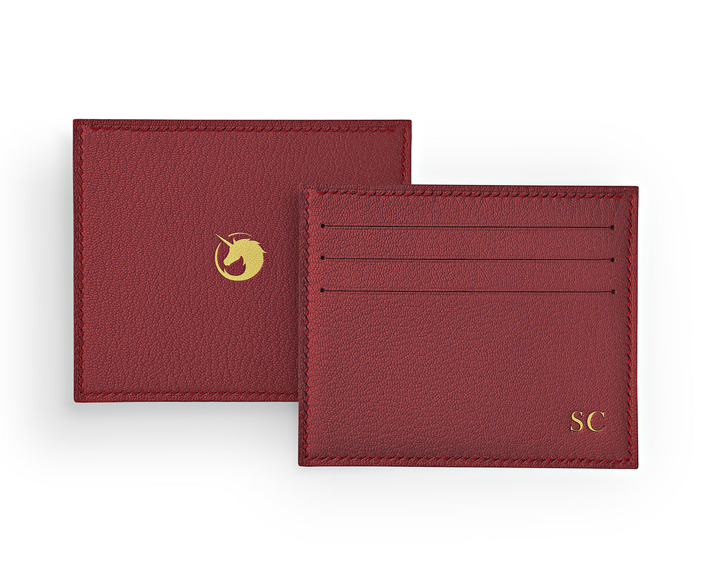 Solus III - Lobster Red - Made to order Goat Leather & Silk card holder