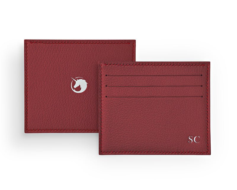 Solus III - Lobster Red - Custom Goat Leather & Silk card holder