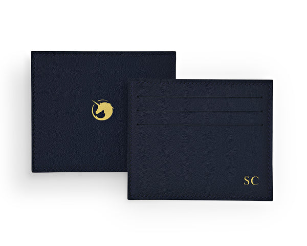 Solus III - Navy Blue - Custom Goat Leather & Silk card holder