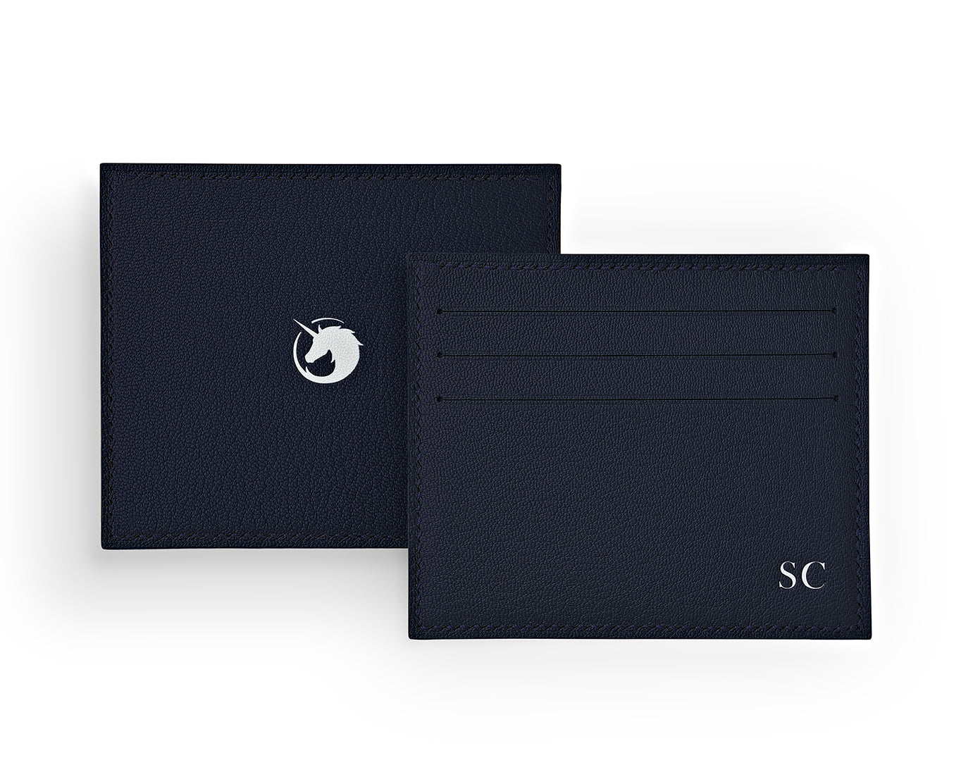 Solus III - Navy Blue - Made to order Goat Leather & Silk card holder