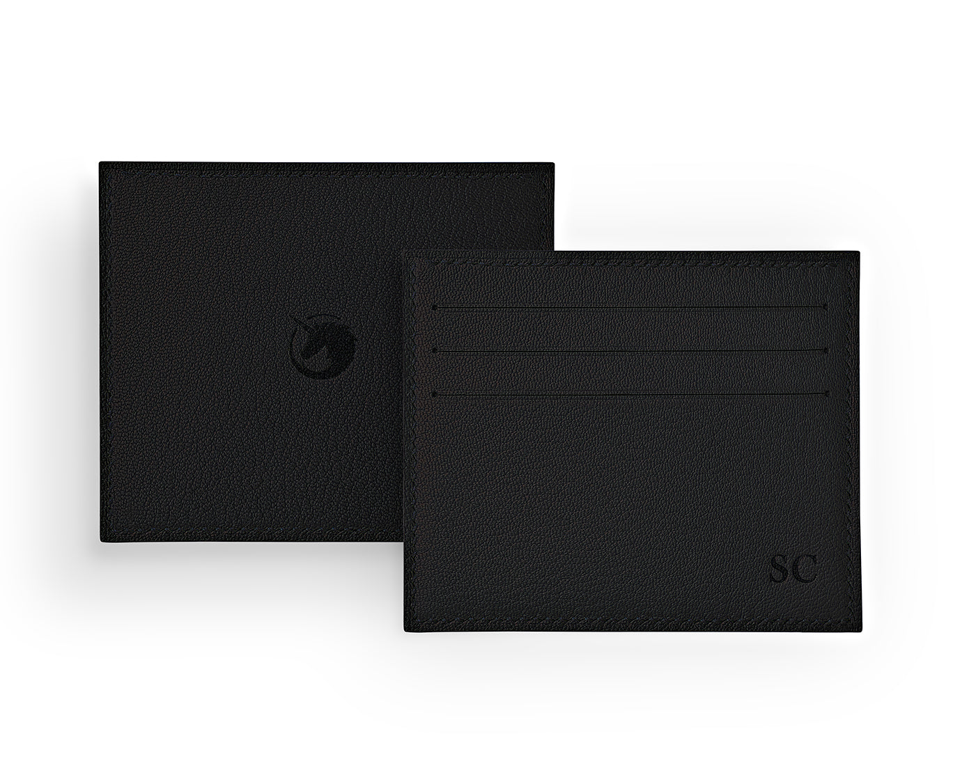 Solus III - Panther Black - Made to order Goat Leather & Silk card holder