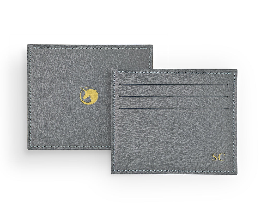 Solus III - Pearl Grey - Made to order Goat Leather & Silk card holder
