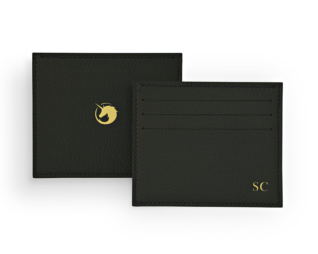 Solus III - Black Forest - Made to order Goat Leather & Silk card holder