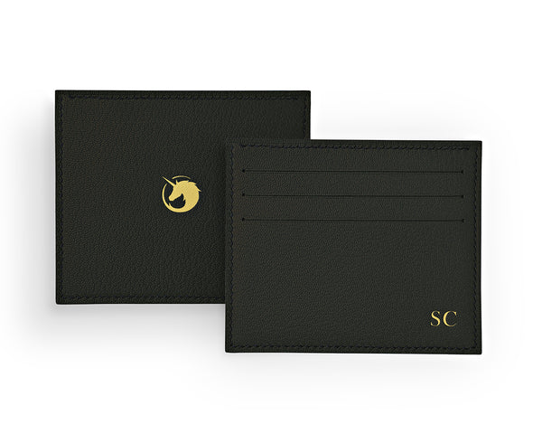 Solus III - Black Forest - Custom Goat Leather & Silk card holder