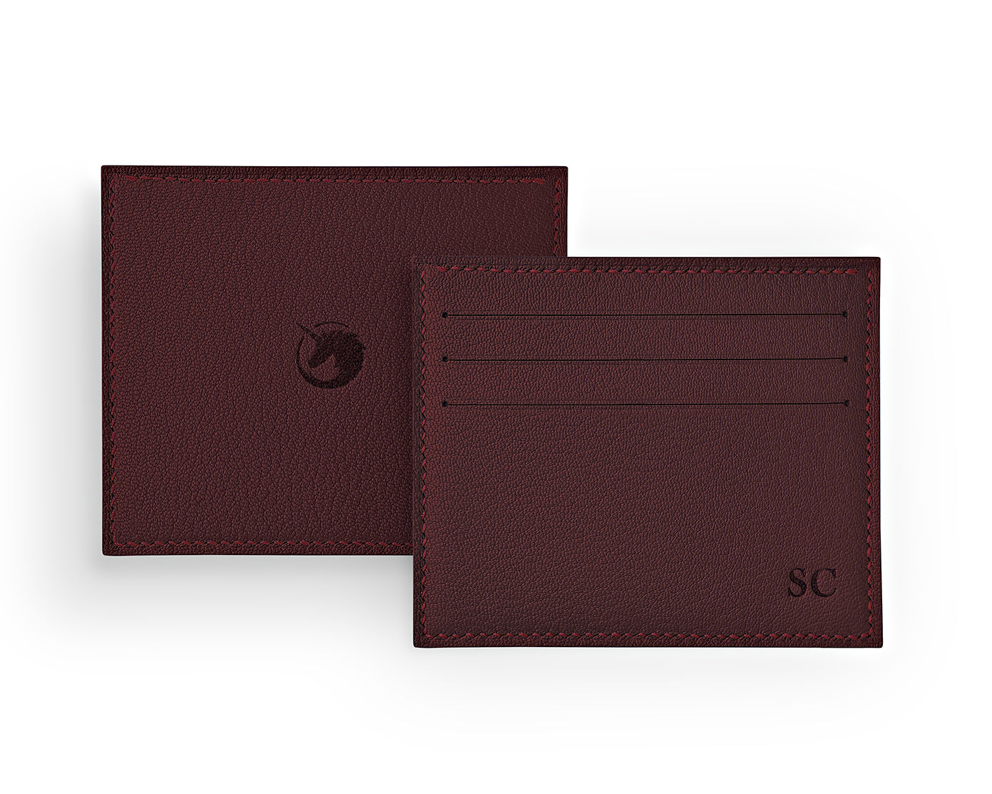 Solus III - Bordeaux - Made to order Goat Leather & Silk card holder