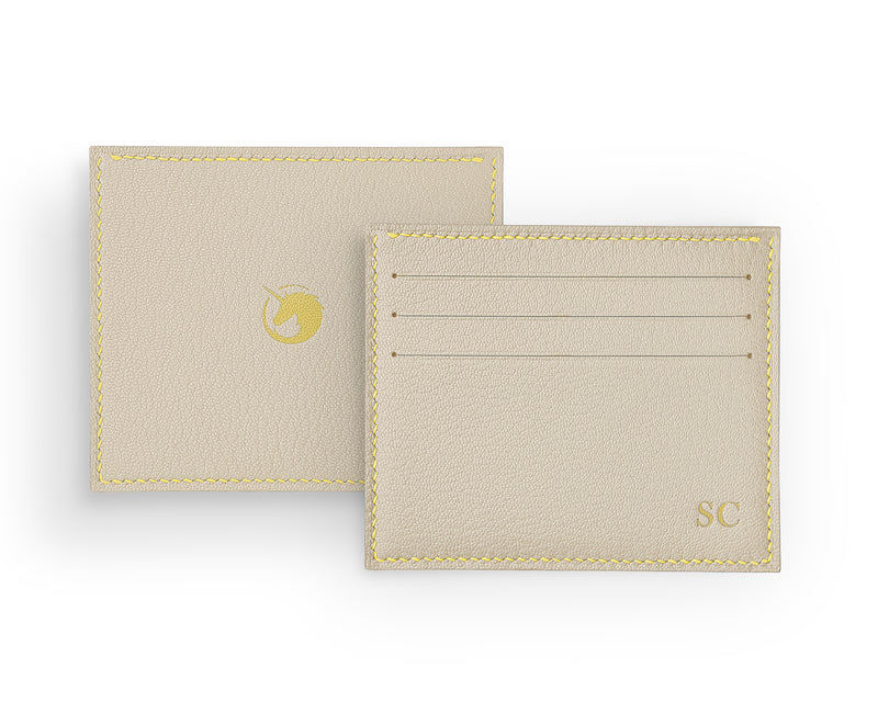 Solus III - Light Cream - Custom Goat Leather & Silk card holder