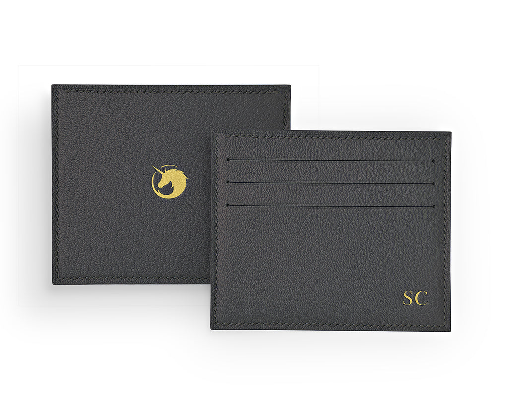 Solus III - Storm Grey - Made to order Goat Leather & Silk card holder
