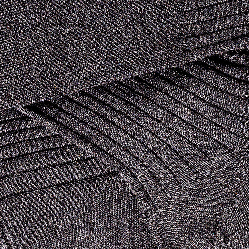 Ribbed Charcoal Grey Cashmere/Silk Over the calf Dress socks - 70% Cashmere 30% Silk Socks