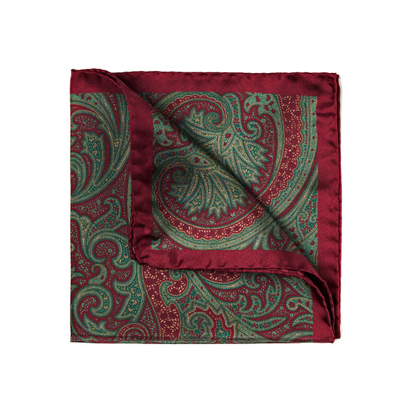 Burgundy and olive green 100% silk pocket square, handmade in Italy. Paisley pattern, bordeaux borders, hand rolled.