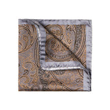 Gold and Silver 100% Silk pocket square, handrolled, made in Italy by The Purple Seal. Use also on bag handles, on your wrist or to style your hair