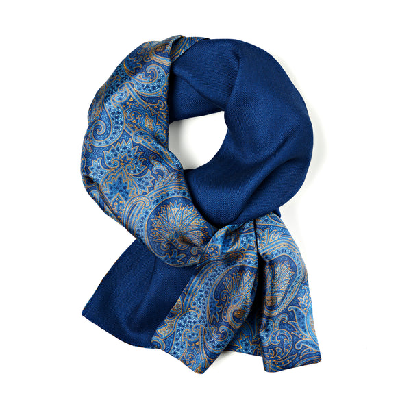 Herring bone jacquard wool and 100% silk twill with paisley print scarf, made in Como, Italy, by The Purple seal. In Blue and Yellow, Scarf styling, how to wear.
