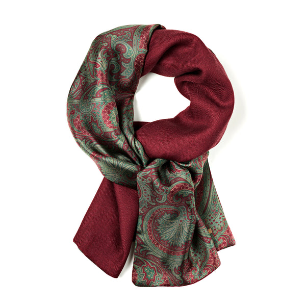 Burgundy and olive green wool and silk scarf, made in Italy. Paisley and herringbone pattern, unisex winter scarf.