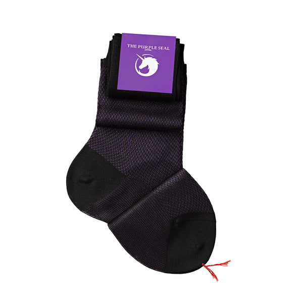 Signature Herringbone Black/Purple Cotton/Silk Over the calf Men Dress socks - 75% Egyptian Cotton 25% Silk