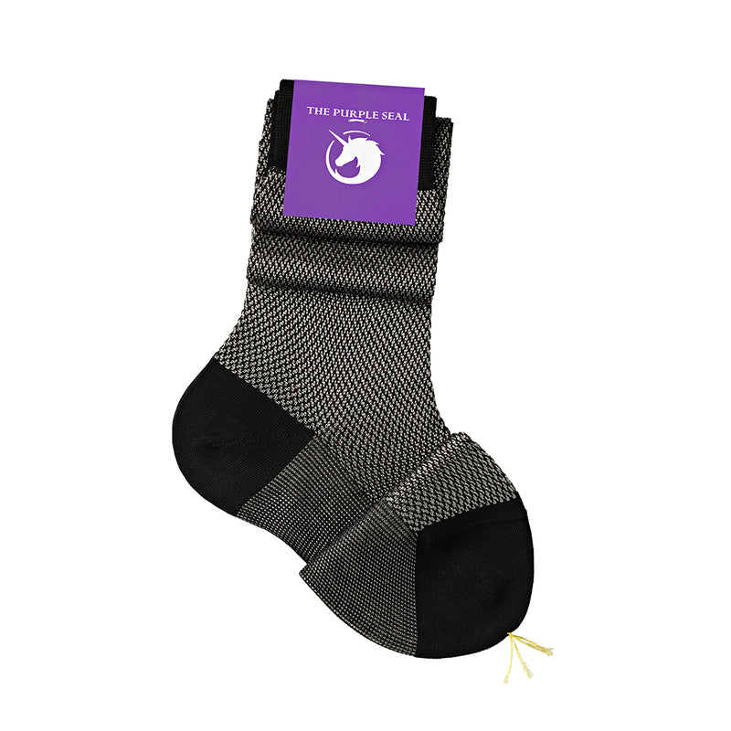 Signature - 75% Egyptian Cotton 25% Silk Ladies Socks - Black/Silver