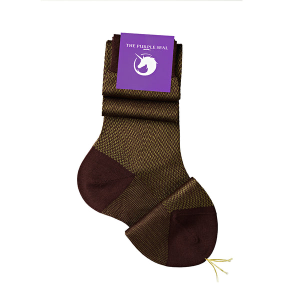 Ladies dress suit socks in bordeaux/olive green, non-synthetic, cotton-blend, in bordeaux/olive green. Perfect for petite and tall women as they come in exact shoe size, for perfect fit and comfort. The shine of the silk and the fineness of the fabric give a unique look to your legs and feet.