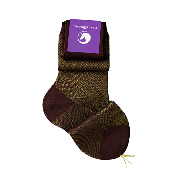 Signature Herringbone Burgundy/Olive Green Cotton/Silk Over the calf Men Dress socks - 75% Egyptian Cotton 25% Silk