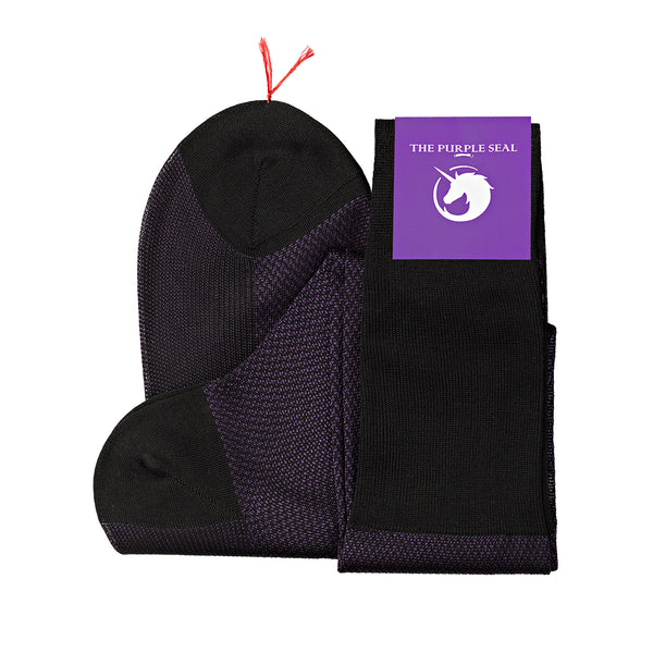 Signature - 75% Egyptian Cotton 25% Silk Socks - Black/Purple