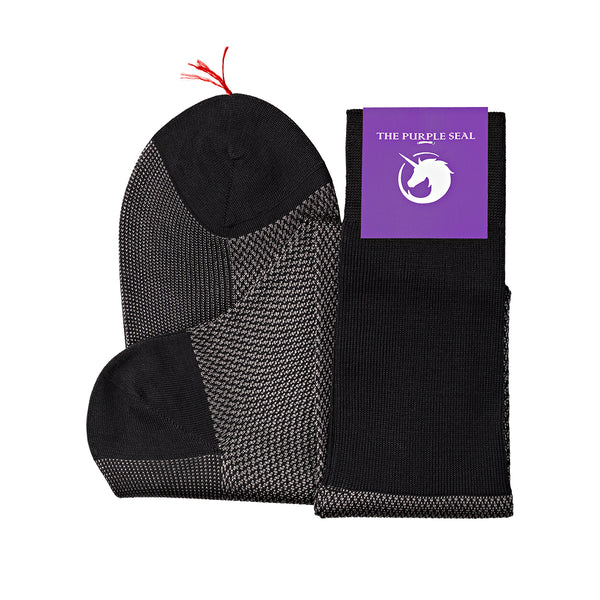 Signature - 75% Egyptian Cotton 25% Silk Socks - Charcoal/Titanium