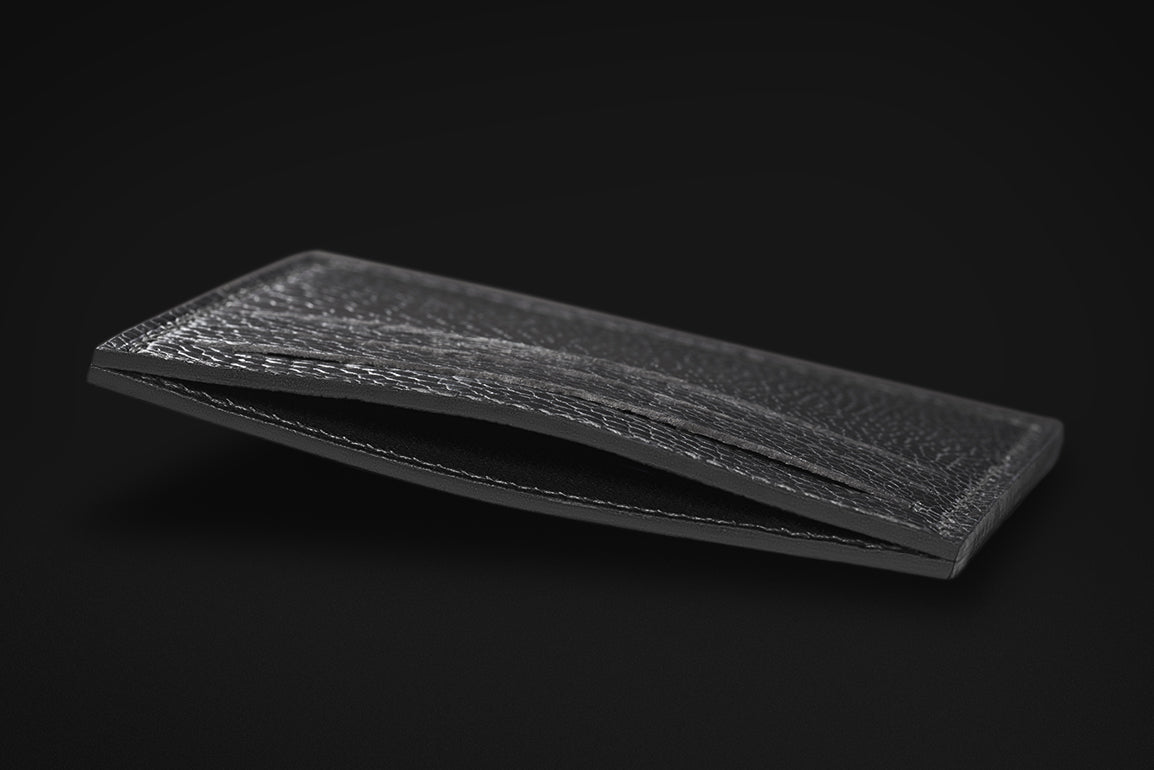 Signature Collection - All Black - Ostrich, Goat Leather & Silk card holder