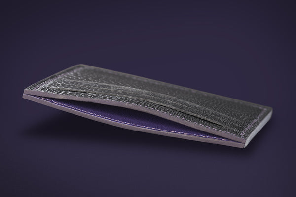 Signature Collection - Royal Purple & Black - Ostrich, Goat Leather & Silk card holder