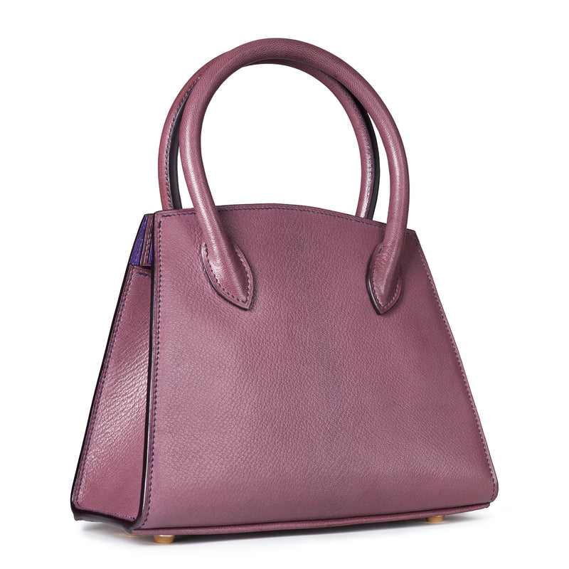 Plum purple goat leather handbag with purple thread, handmade to order in the UK with top quality leather from France, solid brass feet, timeless classic design. The Purple Seal