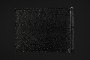Signature Collection - All Black - Ostrich, Goat Leather & Silk money clip wallet