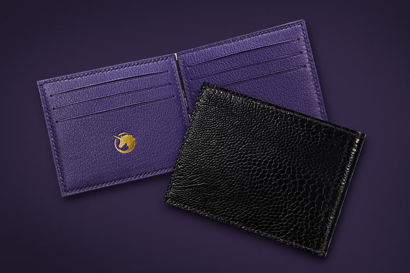 Signature Collection - Royal Purple & Black - Ostrich, Goat Leather & Silk money clip wallet
