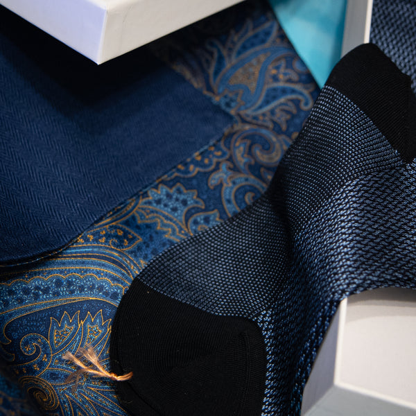 Pairing of Yellow and Blue wool and silk scarf with signature herringbone navy blue socks by The Purple Seal, in gift box.