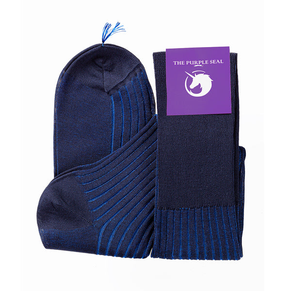 Vanisee Navy/Blue Over the calf Dress socks - 100% Egyptian Mako Cotton