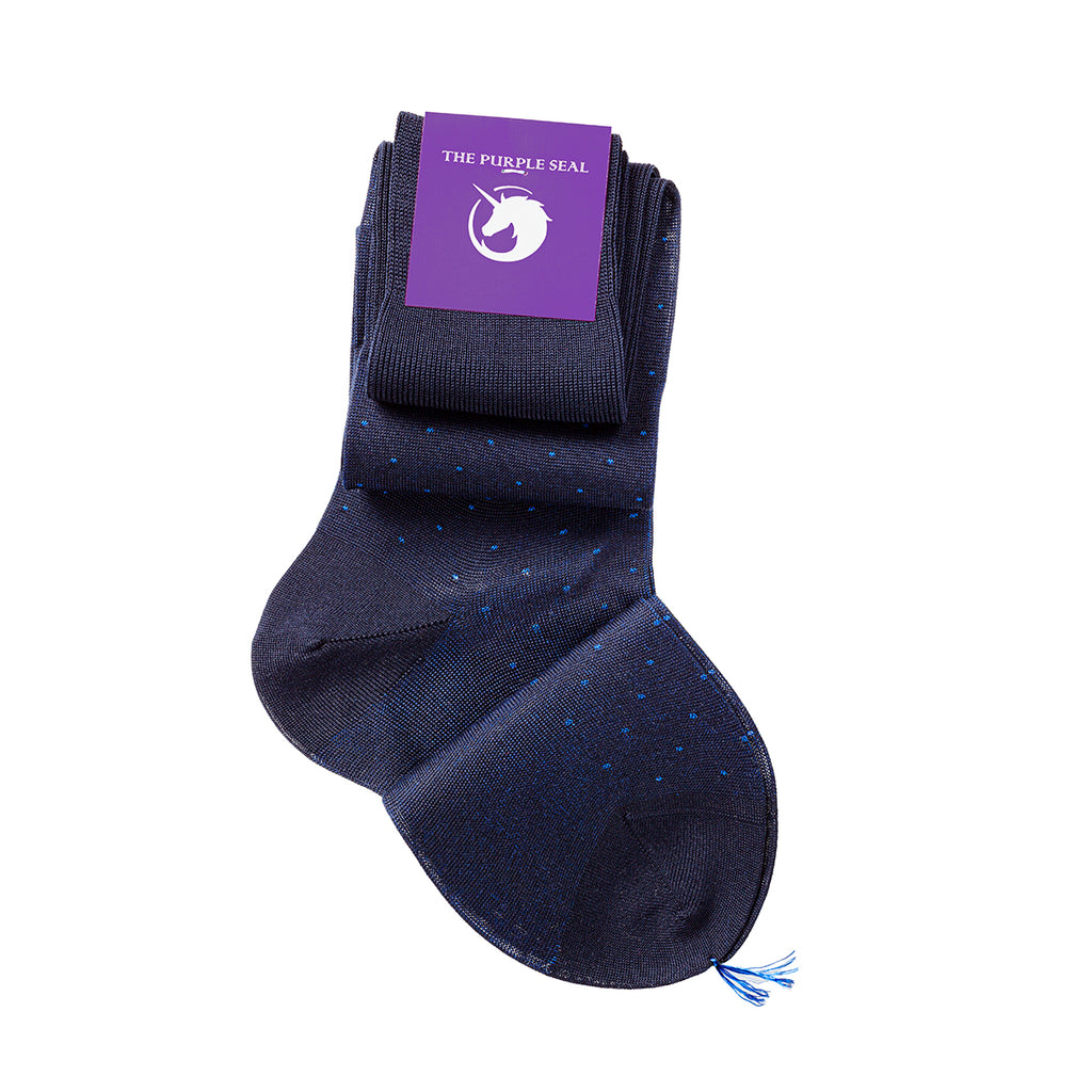 "The Purple Seal luxury men's dress socks. 100% cotton, made to measure, made in Italy. Dots ""Giotto"" pattern Navy/Blue"