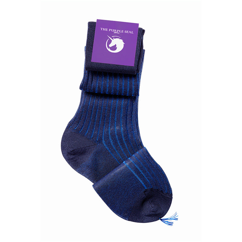 Luxury made to measure navy/blue men's dress socks, The Purple seal. 100% cotton, made in italy, hand-linked and reinforced toe and heel. Classic style, comfort
