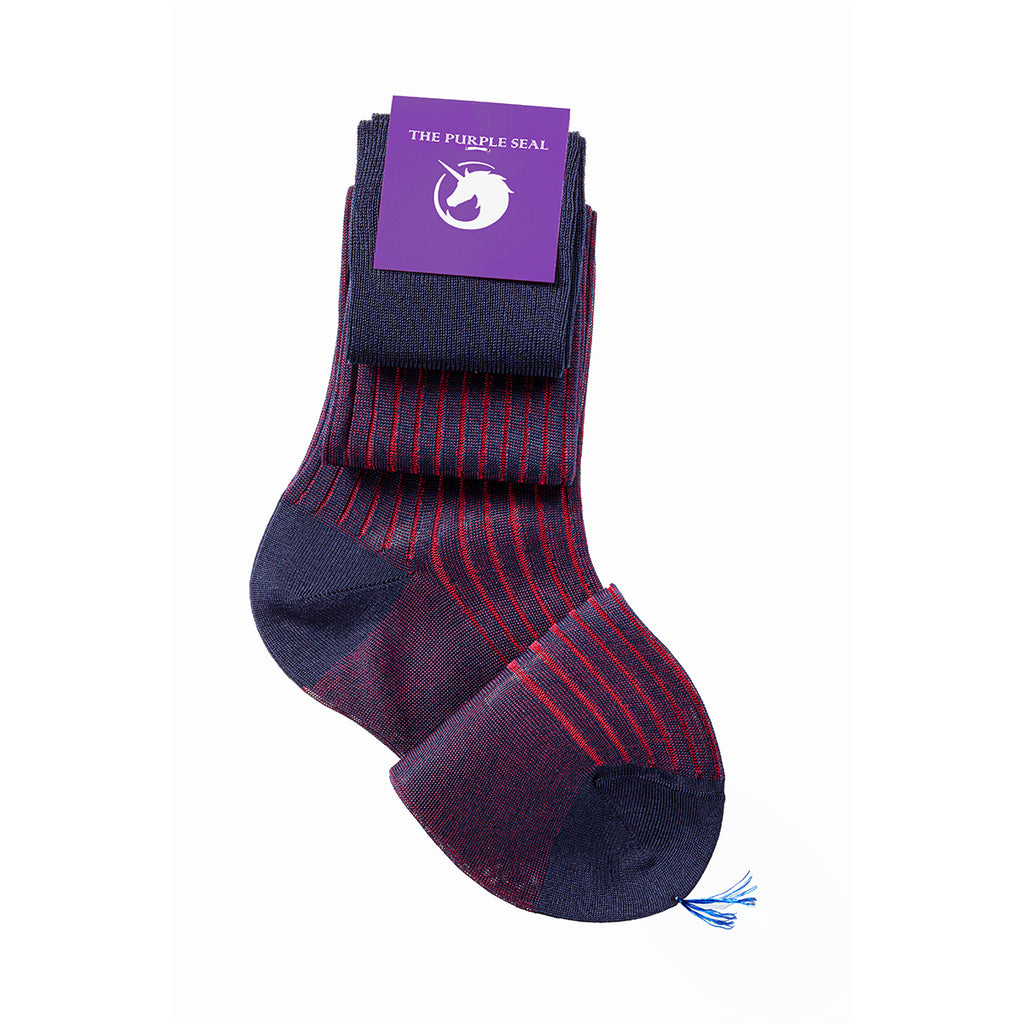 Luxury made to measure navy/red men's dress socks, The Purple seal. 100% cotton, made in italy, hand-linked and reinforced toe and heel. Classic style, comfort