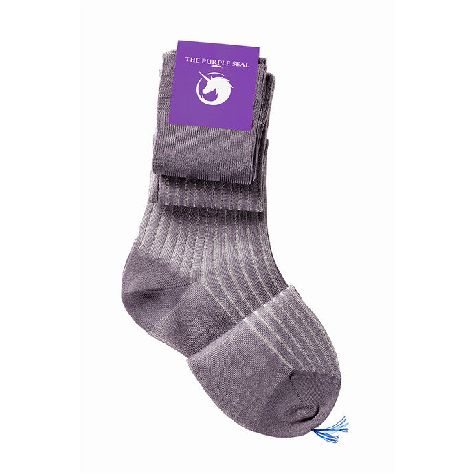 The Purple Seal luxury men's dress socks. 100% cotton, made to measure, made in italy. Vanisee grey