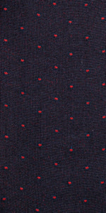 "The Purple Seal luxury socks. 100% cotton, made to measure, made in Italy, 216 needles. Dots ""Giotto"" pattern Navy/Blue"