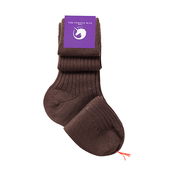 Ribbed Brown Merino/Silk Over the calf Dress socks - 75% Merino Wool 25% Silk Socks