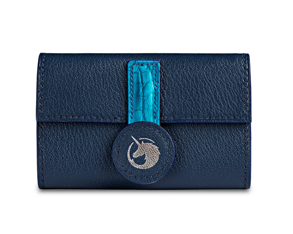 Navy Blue - Made to order Goat & Crocodile Leather Key Case
