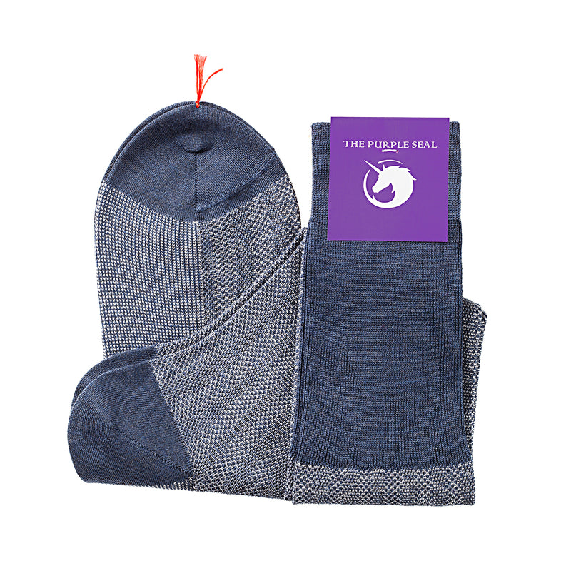 Patterned Blue/Ice Merino Over the calf Dress socks - 100% Merino super 140's Wool Socks