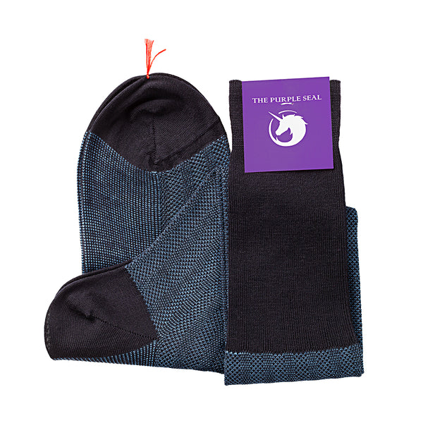 Patterned Navy/Blue Merino Over the calfDress socks - 100% Merino super 140's Wool Socks