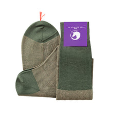 Load image into Gallery viewer, 100% Merino Super 140's Wool Socks - Green/Camel