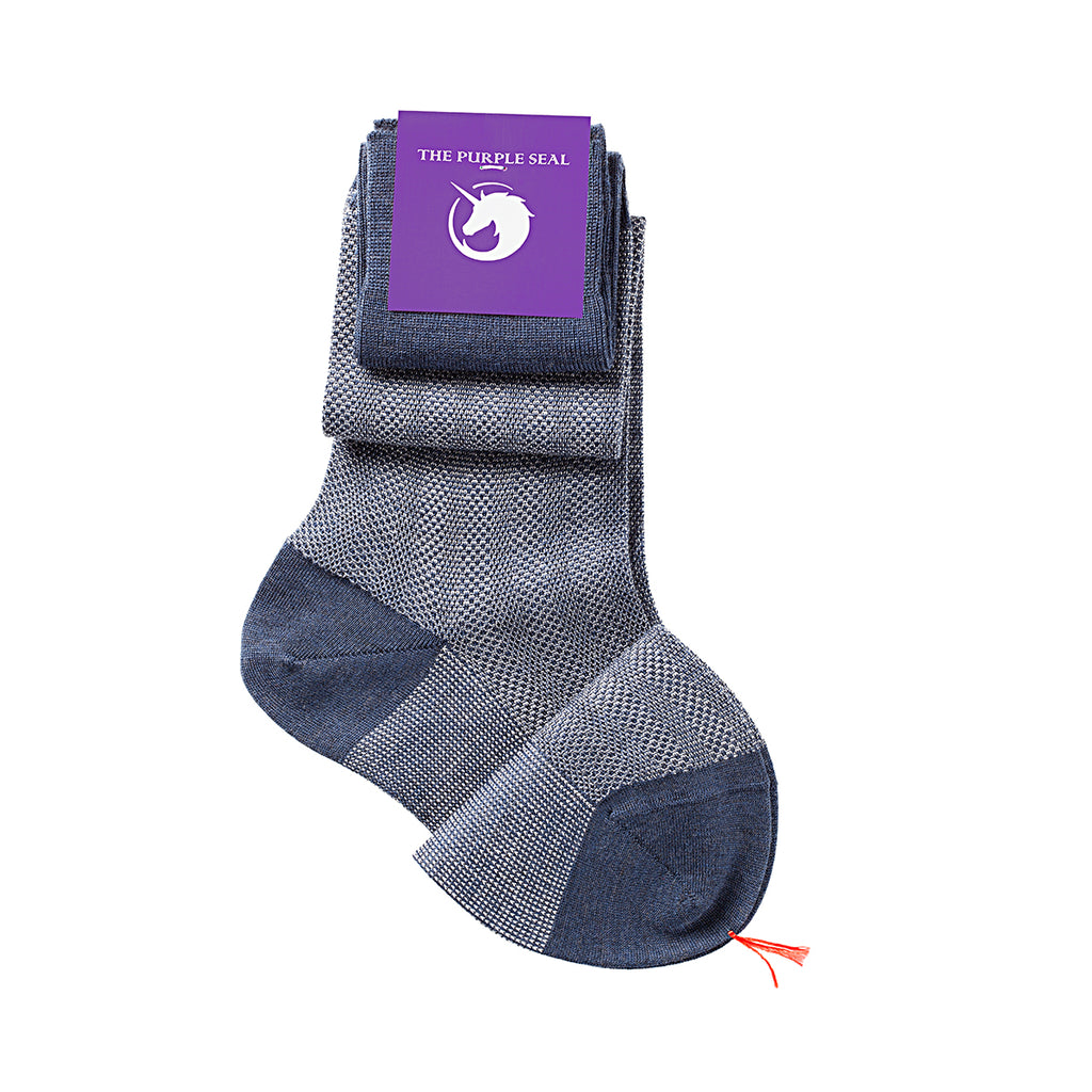 100% Merino super 140's Wool Socks - Blue/Ice