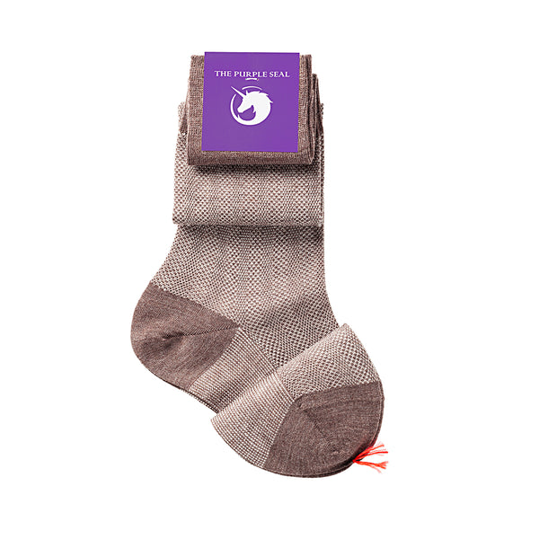 Patterned Brown/Beige Merino Over the calf Dress socks - 100% Merino super 140's Wool Socks