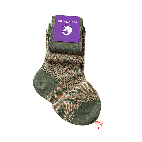 Patterned Green/Camel Merino Over the calf Dress socks - 100% Merino super 140's Wool Socks