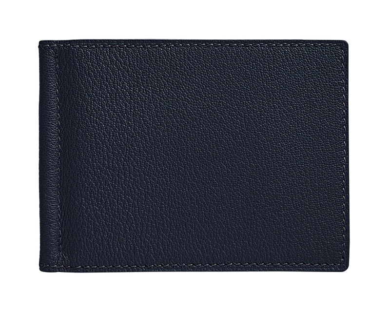 Viator - Navy Blue - Custom Money Clip Leather Wallet