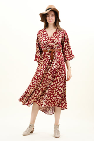 Wrap Wild Print Long Sleeved Smock Maxi Dress