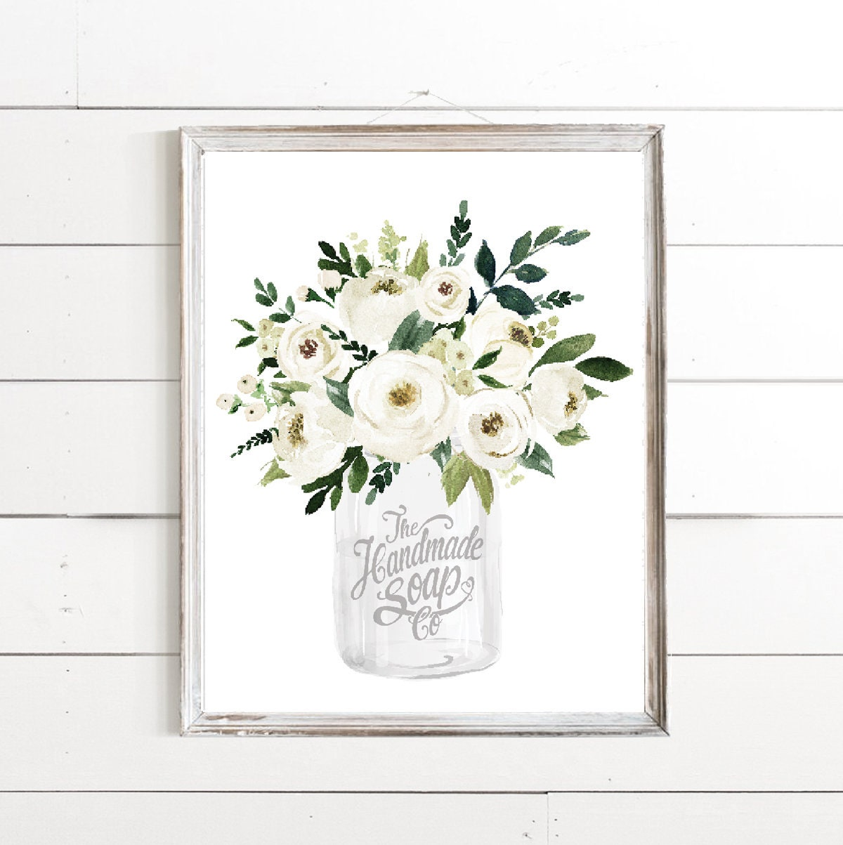 White Mason Jar White Watercolor Small Floral The Handmade Soap Co Print - 4 Backgrounds Bathroom Art - Vintage Farmhouse Bouquet Flowers