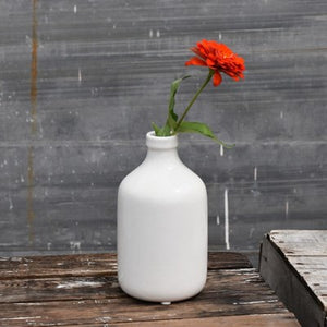 "8"" WHITE BOTTLE VASE"