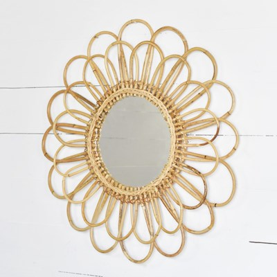 NATURAL LOOP RATTAN MIRROR- PICK UP ONLY