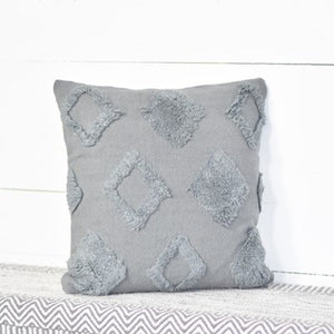 "18"" GREY DIAMOND FLUFF PILLOW"
