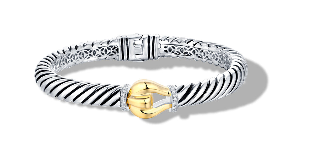 classic cable buckle bracelet silver/gold /diamond